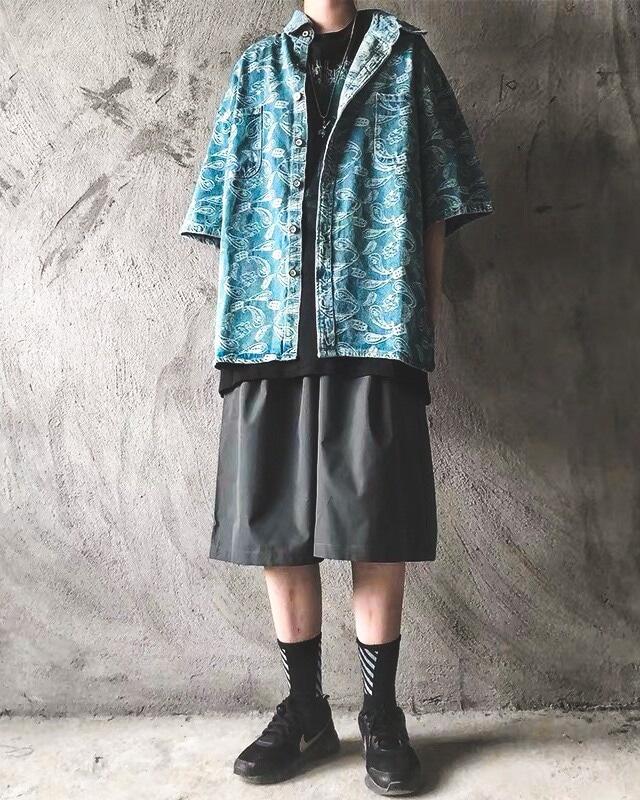 《2色》バンダナ柄ペイズリーデニム半袖シャツの画像4